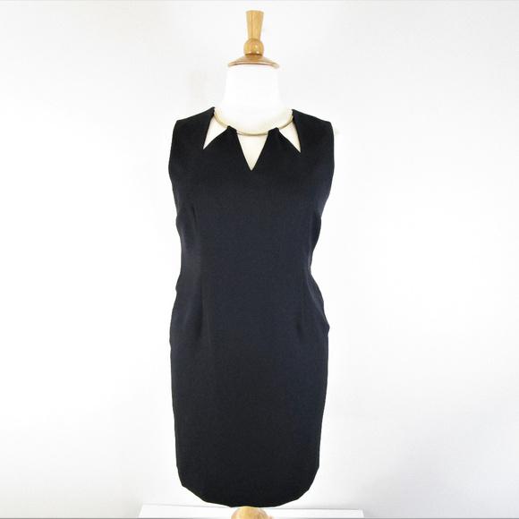 Kasper Plus Size Petite Black Cut Out Sheath Dress
